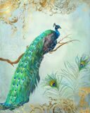 regal-peacock-1-on-tree-branch-w-feathers-gold-leaf-audrey-jeanne-roberts 9750_7800