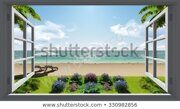 tropical-island-view-sea-window-450w-330982856